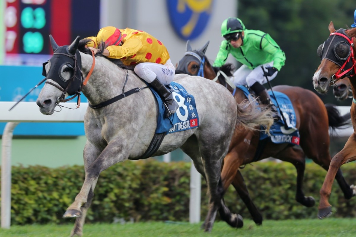 Giant Treasure, ridden by Christophe Soumillon, wins the Stewards' Cup at Sha Tin on Sunday. Photos: Kenneth Chan