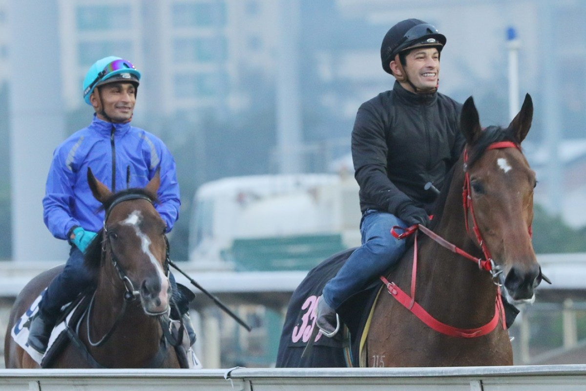 Dennis Yip's Lucky Girl (Silvestre De Sousa) heads back to the stables with David Hall's Simply Invincible (Karis Teetan) after a gallop at Sha Tin on Thursday morning.