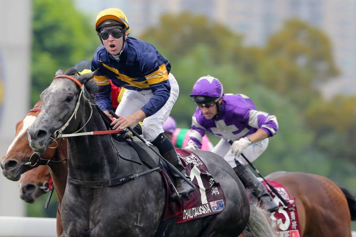 Tommy Berry celebrates aboard Chautauqua after winning the Chairman's Sprint Prize on Sunday. The Jockey has no plans to change the format of the race.
