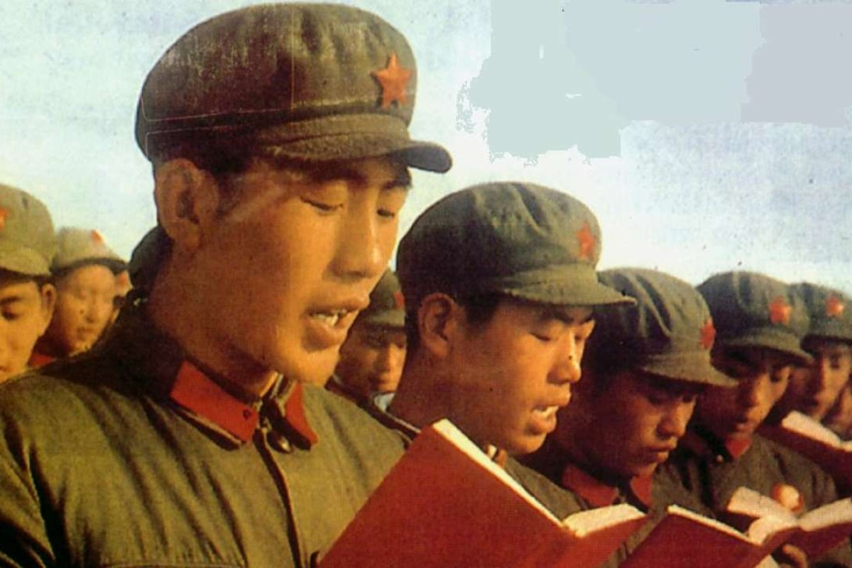 "Red Guards reading Mao's ""little red book""."