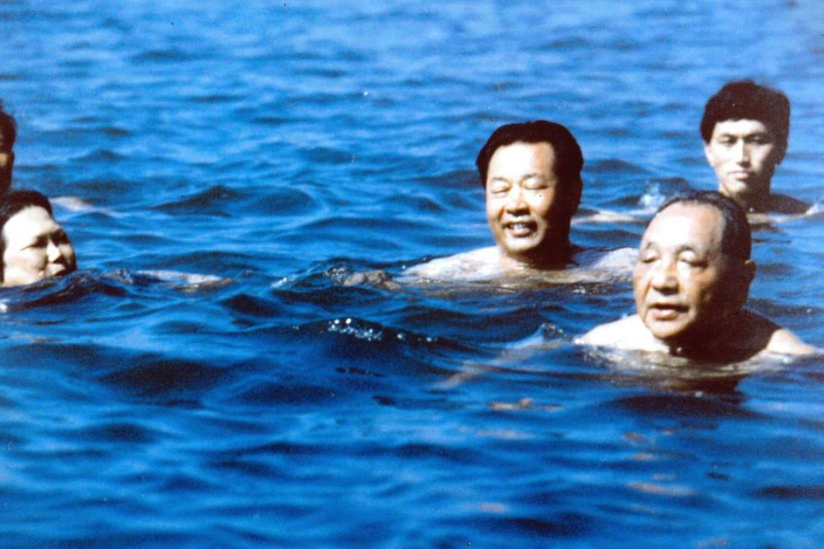 Deng Xiaoping, right, swims at Beidaihe, a summer resort in Hebei province, in July 1987. Photo: Xinhua