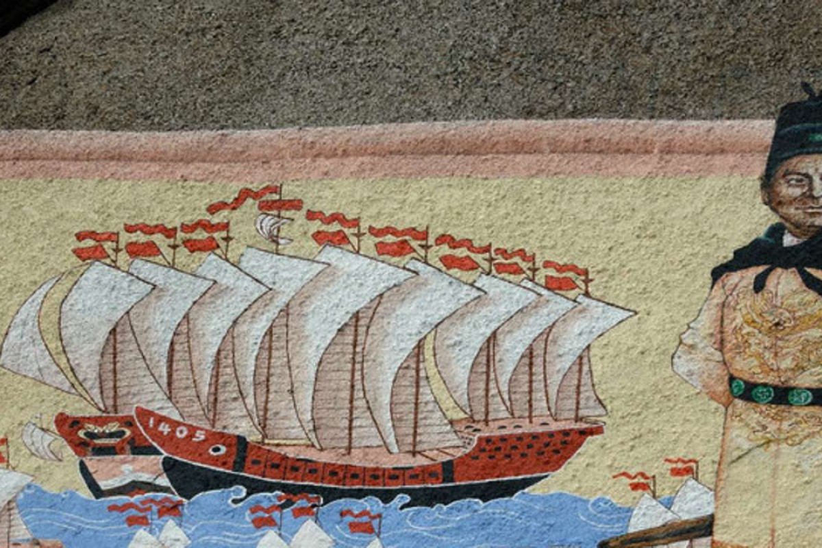 A painting of Chinese admiral Zheng He at a temple shrine in Penang, Malaysia. Photo: Corbis