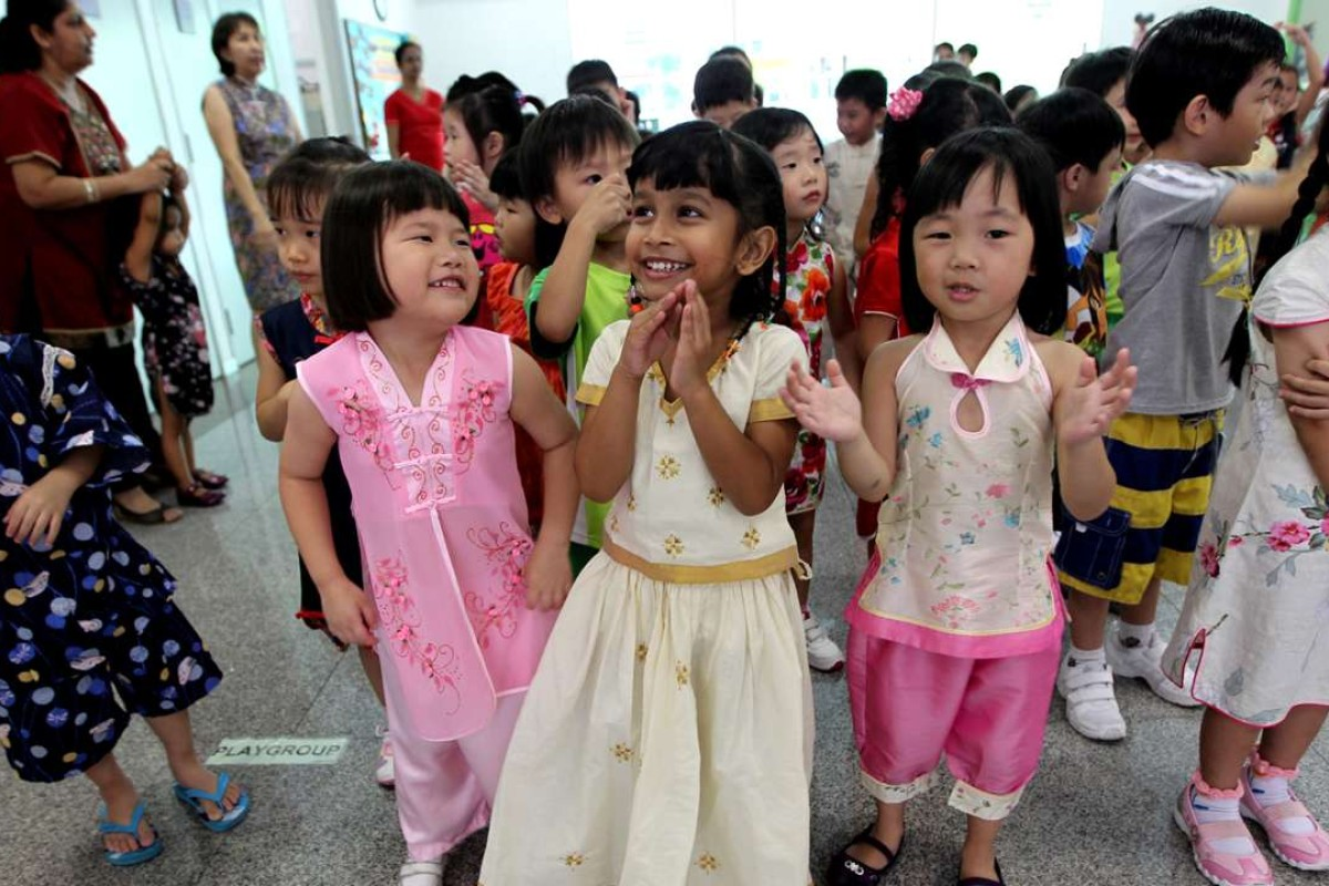Pre-school pupils from St Francis Xavier Kindergarten in Singapore. The city state is seen by many as an exemplar of racial harmony. Photo: Singapore Press Holdings