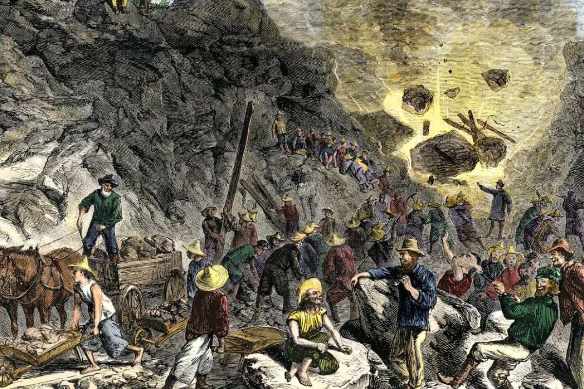 Immigrant workers building the transcontinental railroad in 1869. Pictures: Alamy; California State Library