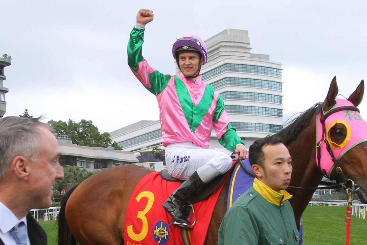 Trainer Paul O'Sullivan and jockey Zac Purton are happy with how sprint star Aerovelocity is coming along this preparation. Photos: Kenneth Chan