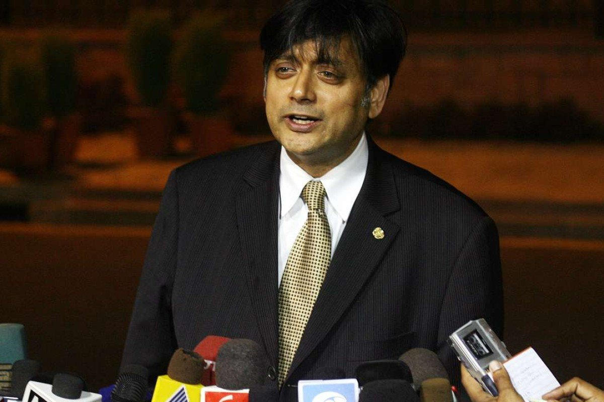 Shashi Tharoor addresses the media as India's nomination for UN Secretary-General after meeting Prime Minister Manmohan Singh in New Delhi in June 2006. Photo: AFP