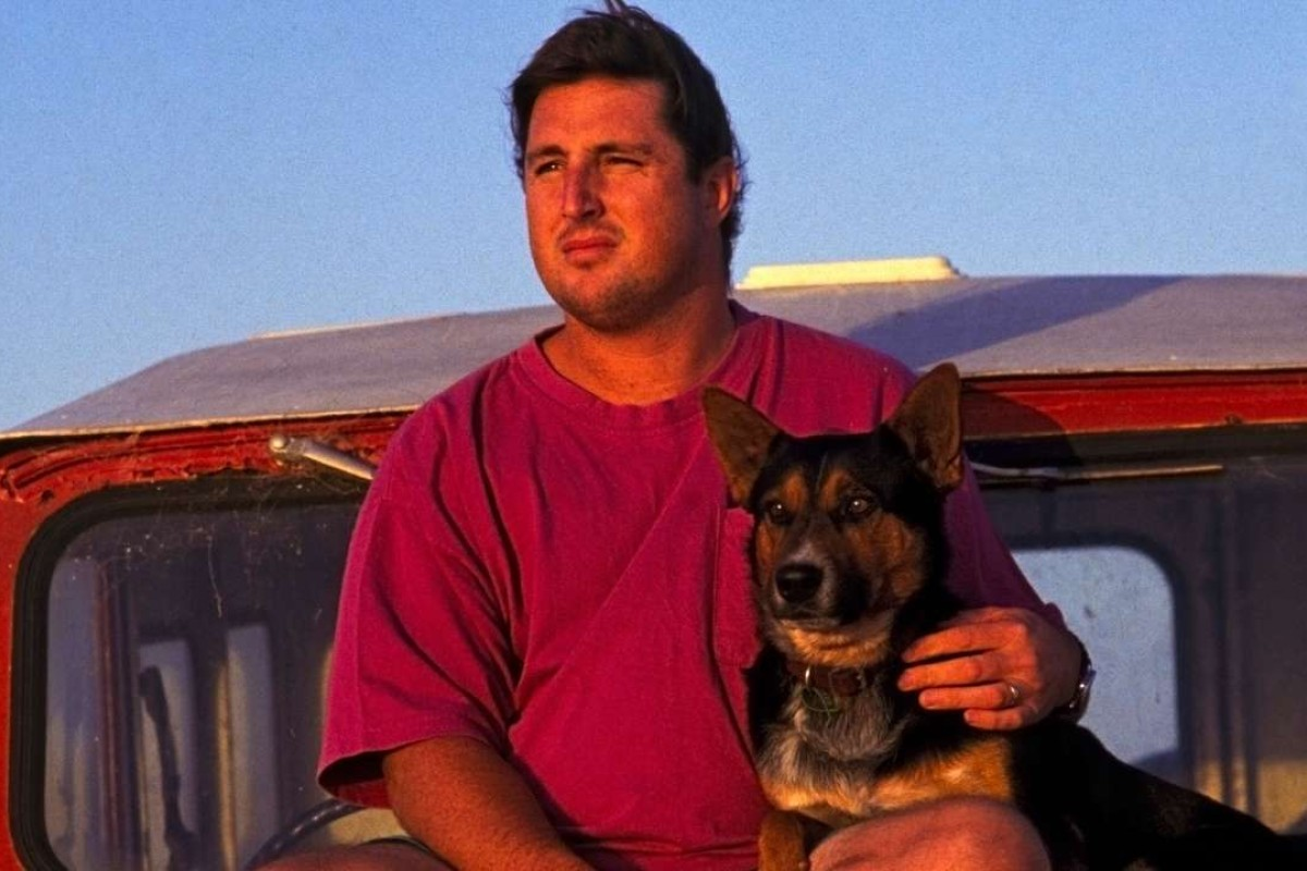 Australian author Tim Winton with his dog in 1993.
