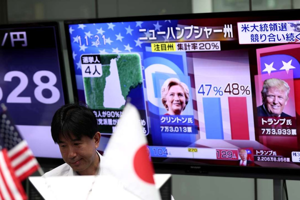 A Japanese worker at a foreign exchange trading company in Tokyo watches the US presidential elections unfold. Photo: AFP