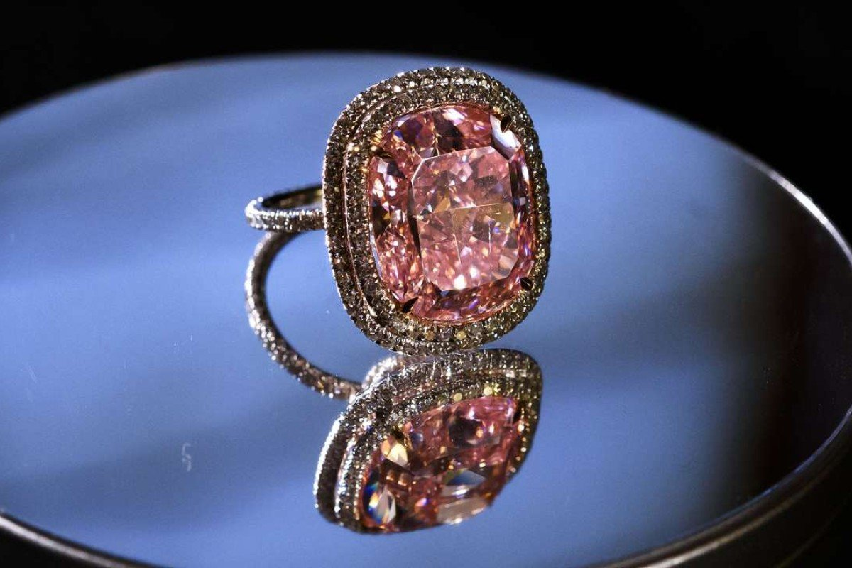The 16.08-carat pink diamond bought by Joseph Lau for his daughter. Picture: AFP