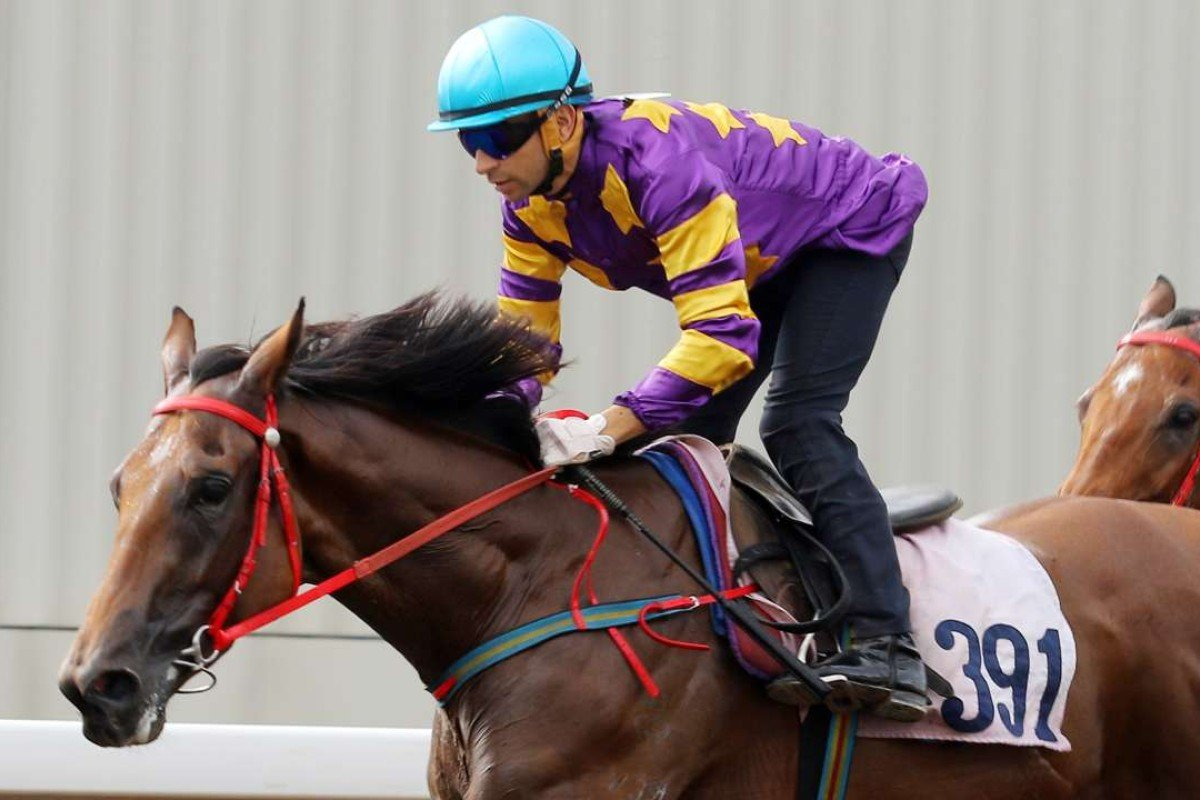 Joao Moreira rides Southern Express in a trial. Photos: Kenneth Chan