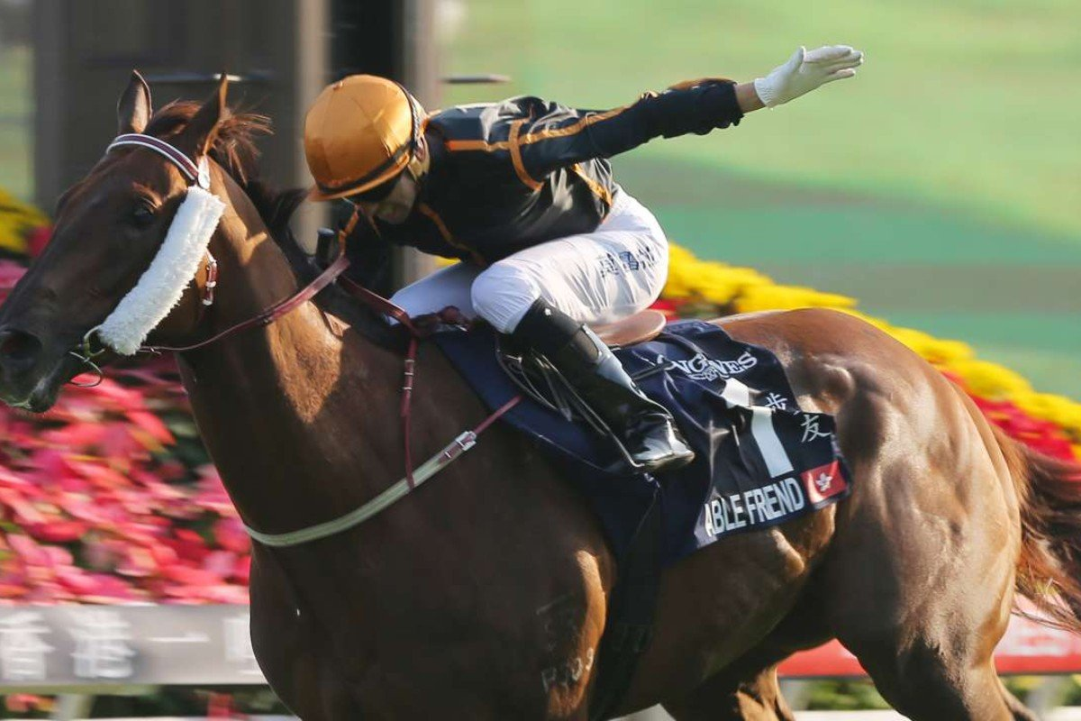 Able Friend wins the 2014 Hong Kong Mile. Photos: Kenneth Chan