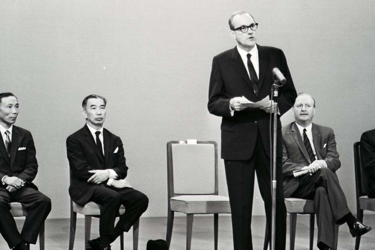 Governor Sir David Trench speaking at the opening ceremony of HK-TVB. Sitting behind are the management of Hong Kong Television Broadcasts Limited, (from left) Run Run Shaw, Harold Lee Hsiao-wo, J. D. Clague and P. Y. Tang. Picture: SCMP