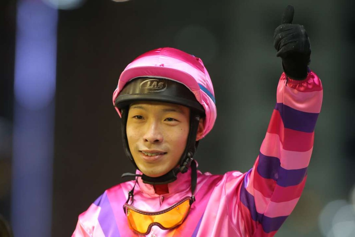 Ben So celebrates after Sunny Win's victory at Happy Valley. Photos: Kenneth Chan