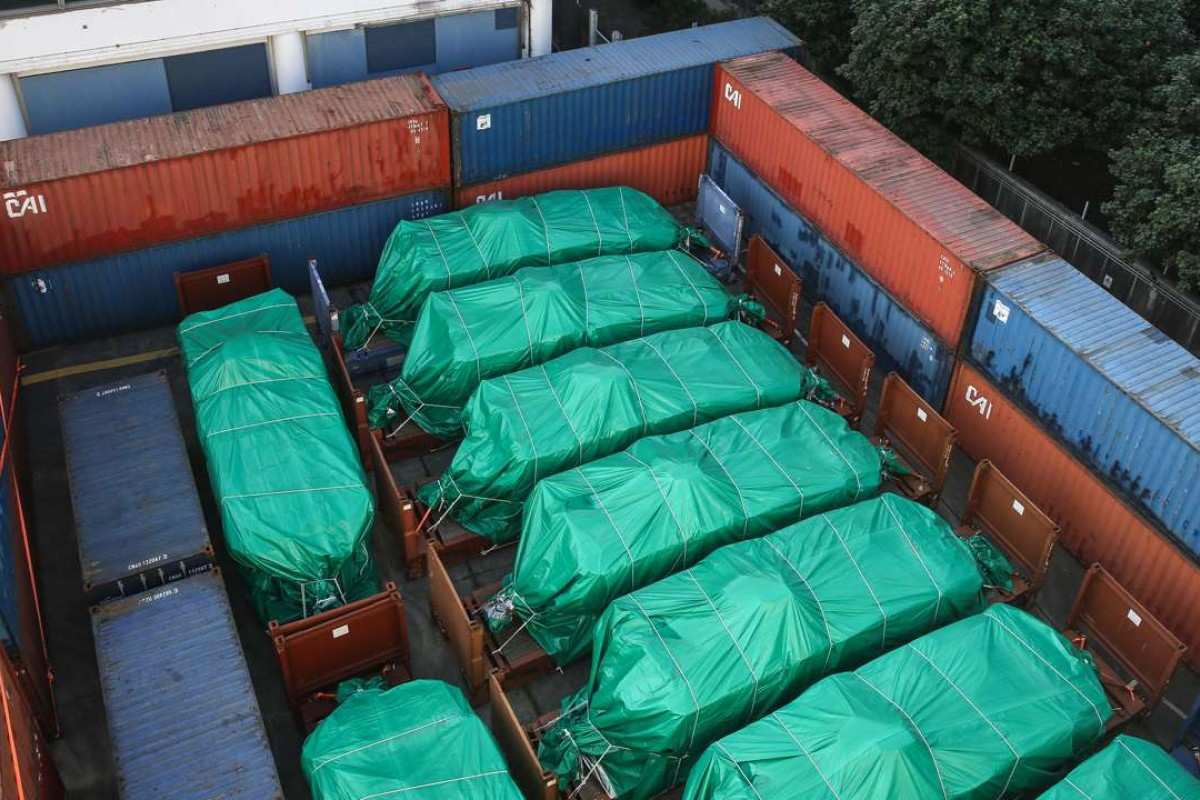 The Singaporean armoured vehicles seized by Hong Kong Customs . Picture: Sam Tsang