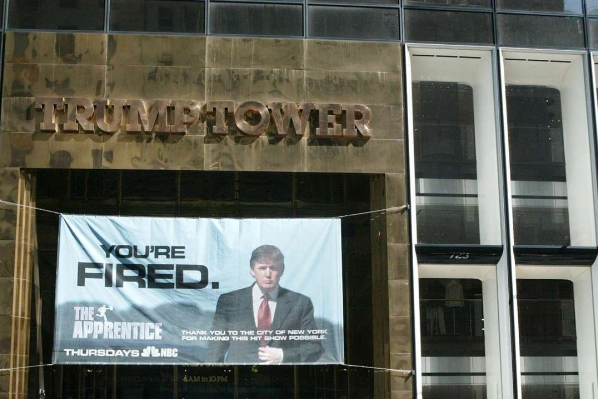 A sign advertising Donald Trump's former reality television show 'The Apprentice' at Trump Towers in New York City. Photo: Getty Images