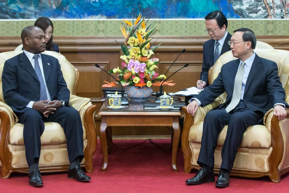 Chinese State Councillor Yang Jiechi meets Urbino Botelho, foreign minister of Sao Tome and Principe, in Beijing. Photo: Xinhua