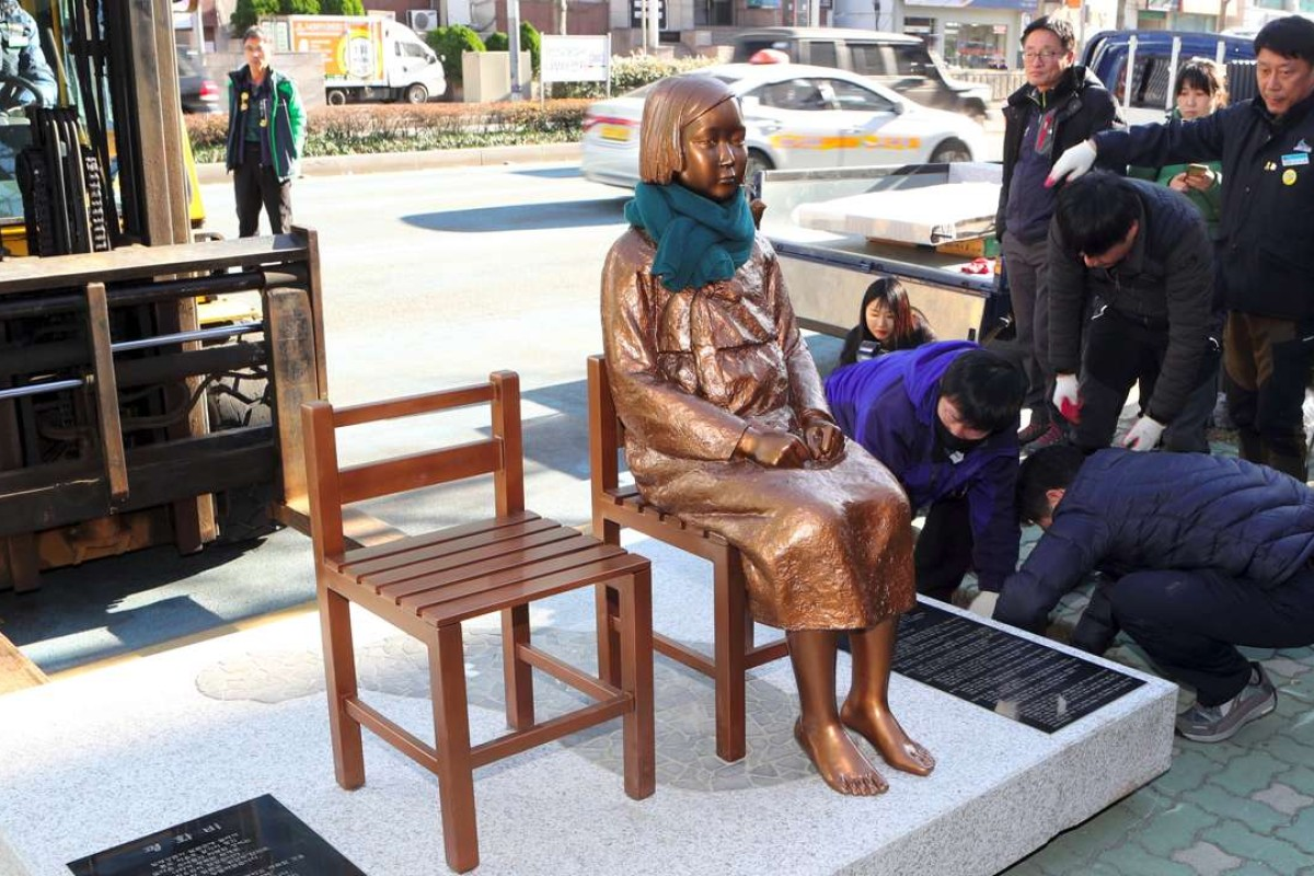 A statue of a teenage girl symbolising the 'comfort women' who served as sex slaves for Japanese soldiers during the second world war outside the Japanese consulate in Busan. Photo: AFP