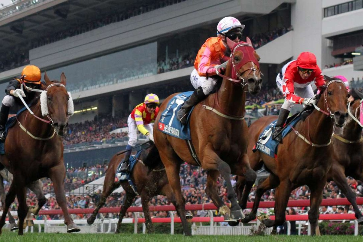 Tommy Berry guides Helene Paragon to victory in the Group One Stewards' Cup at Sha Tin on Monday. Photos: Kenneth Chan