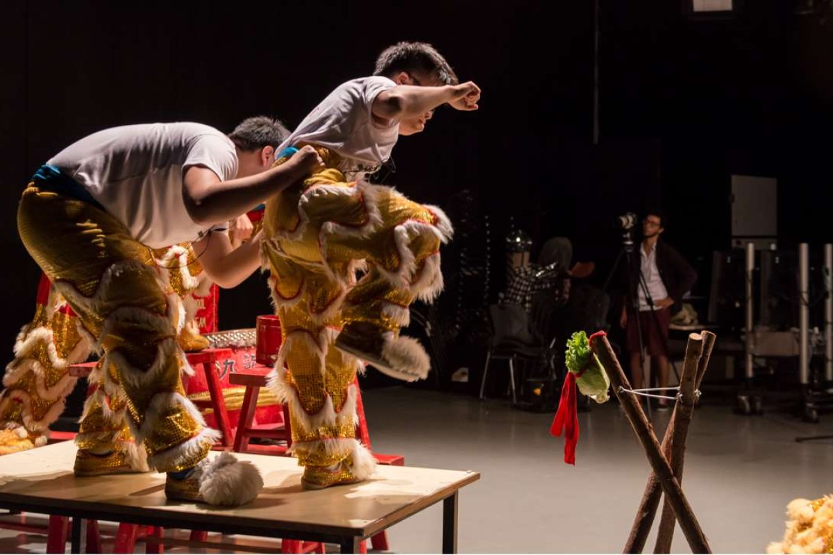 Muted Situation #2: Muted Lion Dance (2014), a video by Samson Young Kar-fai, is part of an exhibition showcasing the Mari-Cha Lion.
