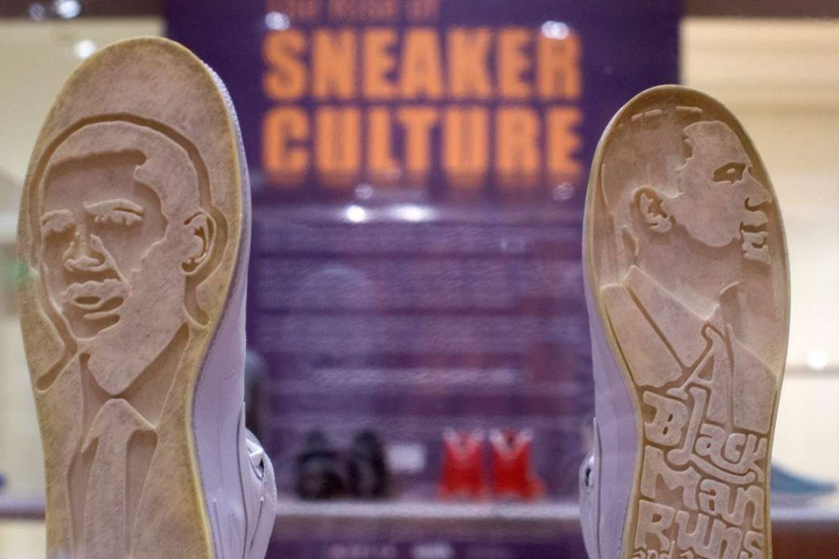 A pair of Nike Obama Force Ones on display at the High Museum's exhibit, 'Out of the Box: Rise of the Sneaker Culture'. The exhibition included 155 sneakers that take people through the history and cultural impact of the sneaker. Photo: EPA