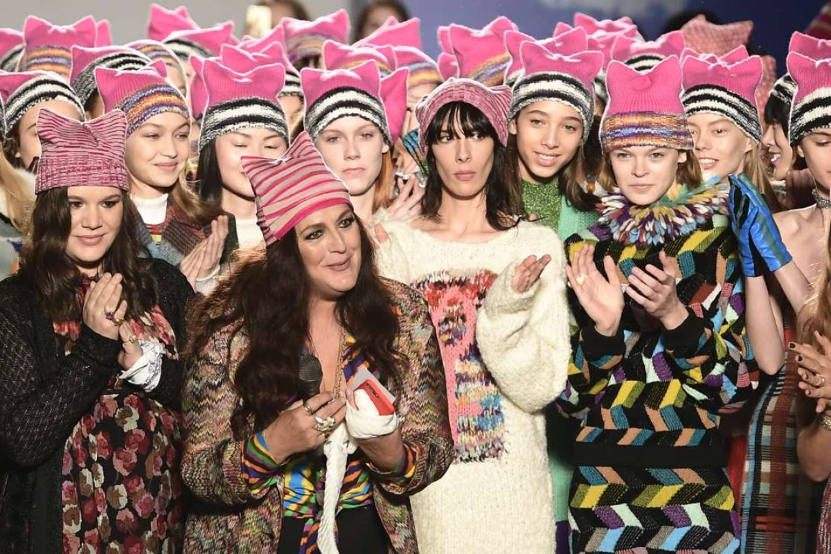 Angela Missoni (foreground) after her autumn-winter 2017 fashion show on February 26. Picture: AFP