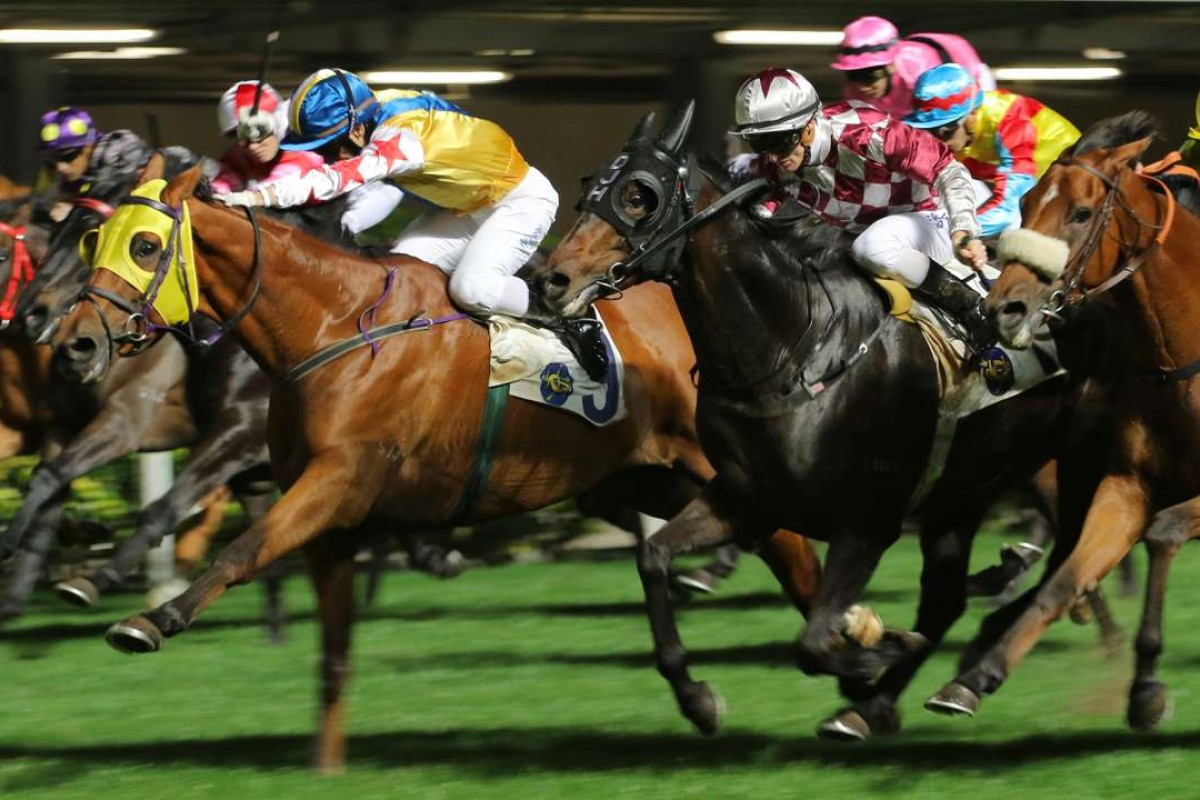 Happy Rocky (yellow) wins at Happy Valley in January 2016. Photos: Kenneth Chan