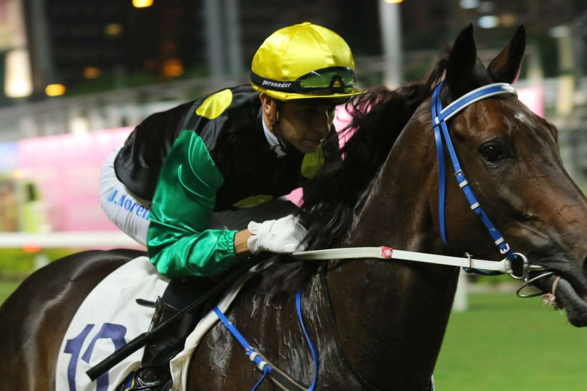 Joao Moreira returns after winning on Speedy Wally at Happy Valley in October. Photos: Kenneth Chan.