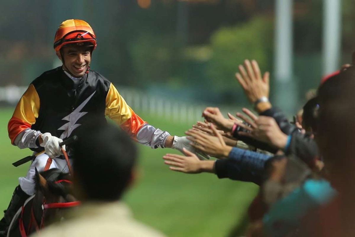 Joao Moreira greets fans after his last start win on Premiere. The youngster now steps up into Class Two on Wednesday night. Photos: Kenneth Chan.