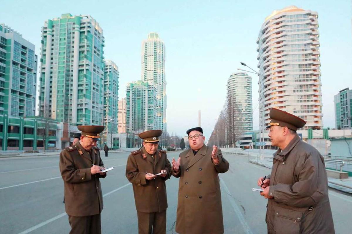 North Korean leader Kim Jong-un visits construction sites in Pyongyang. Photo: AFP