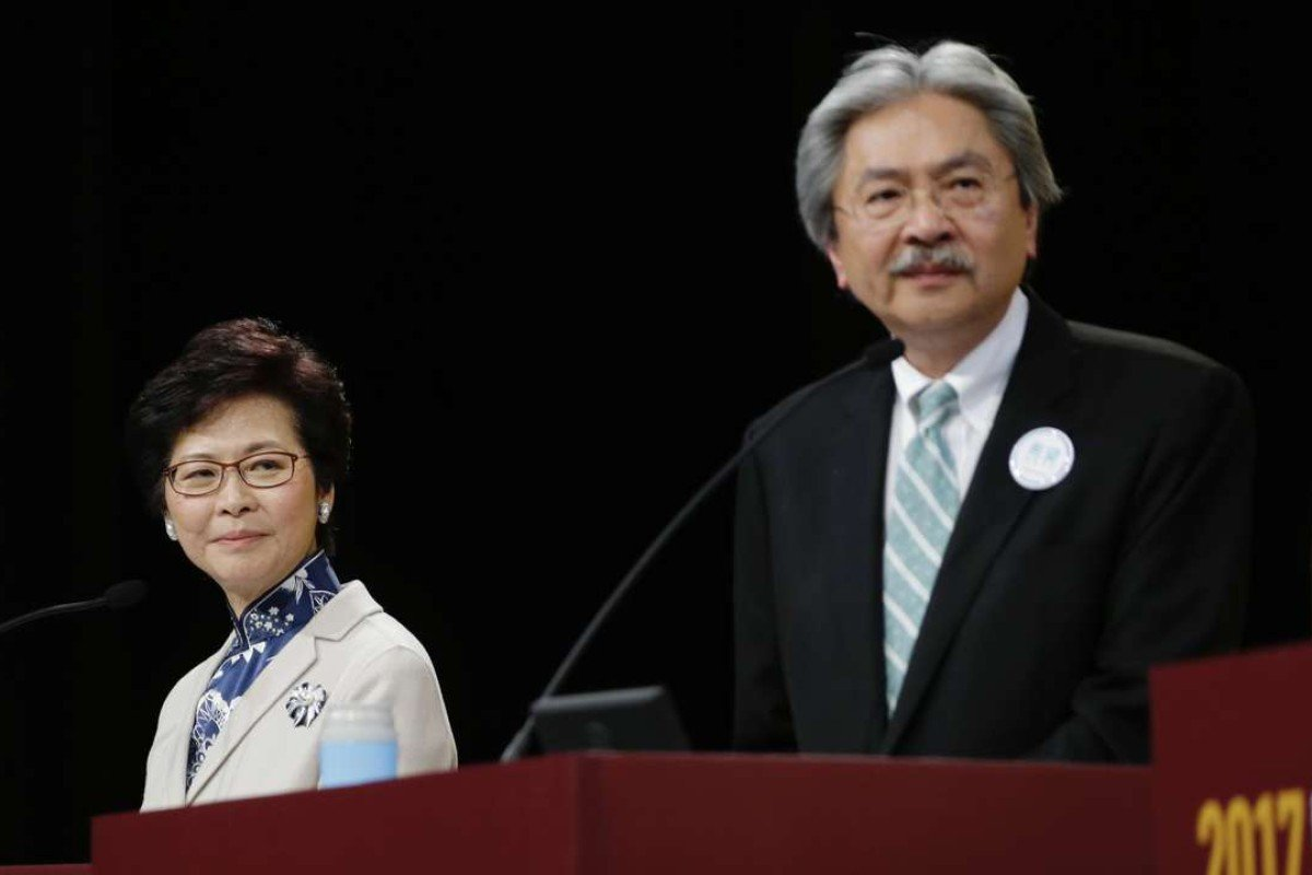 Chief executive-elect Carrie Lam and John Tsang at the 2017 election forum last month.