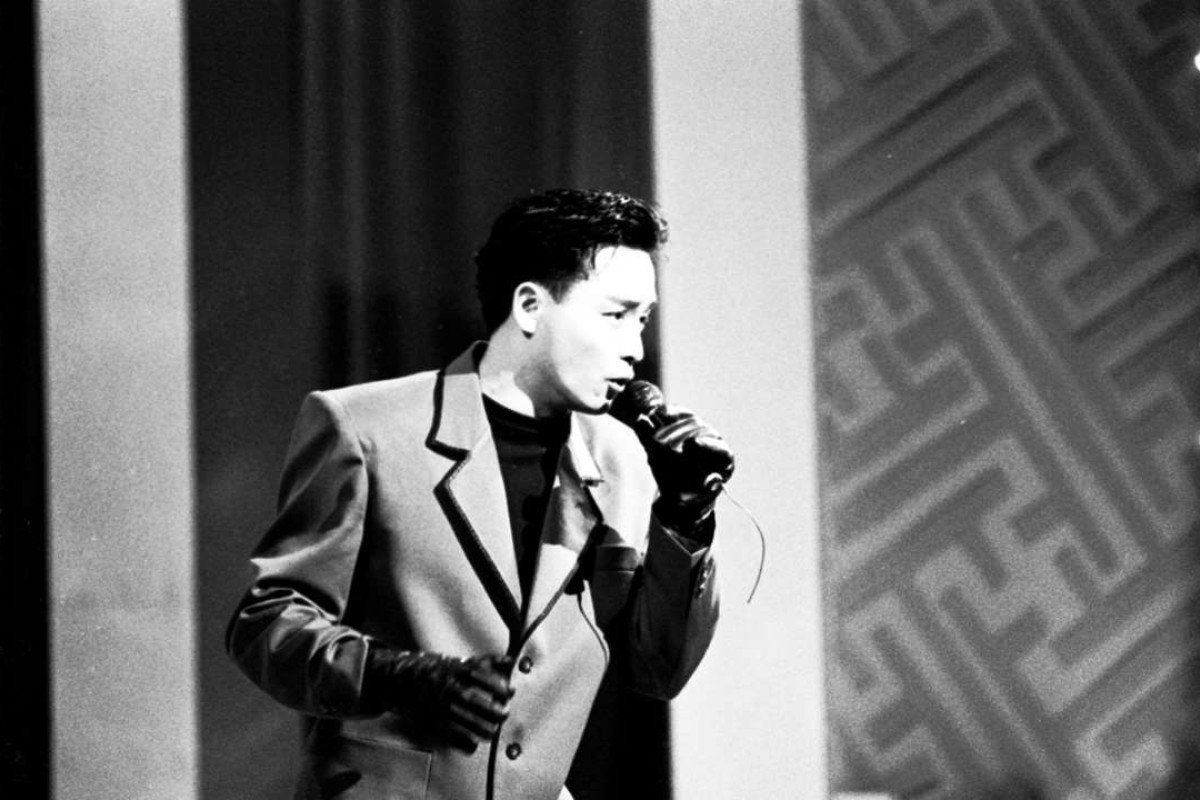 Canto-pop singer Leslie Cheung Kwok-wing singing in the Miss Chinese International Pageant.