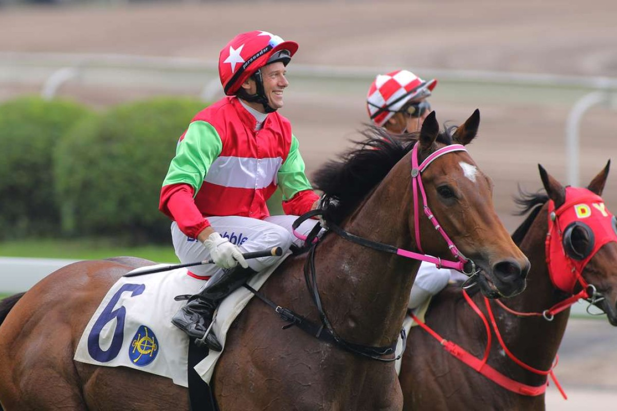 Brett Prebble is all smiles after Jumbo Luck's maiden win at Sha Tin in November. Photos: Kenneth Chan.