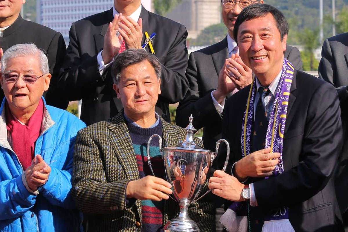 Kingsfield's new owner Edmond Yue Kwok-yin collects the CUHK Alumni Cup at Sha Tin on Sunday. Photos: Kenneth Chan