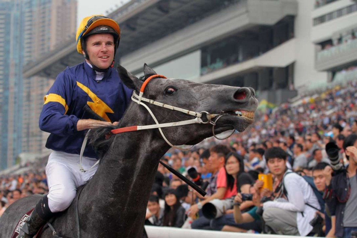 Tommy Berry and Chautauqua return to scale after winning the 2016 Chairman's Sprint Prize at Sha Tin. Photo: Kenneth Chan