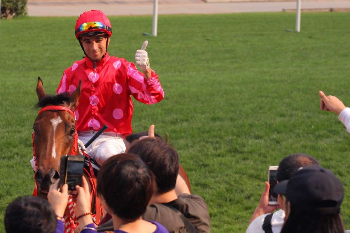 Joao Moreira gives the thumbs up after taking out the Group Two Sprint Cup with Mr Stunning. Photos: Kenneth Chan