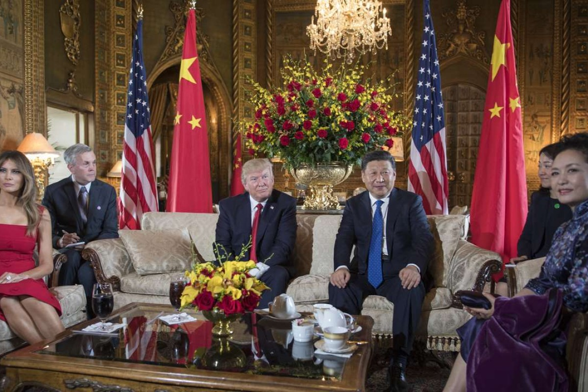 US President Donald Trump, Chinese President Xi Jinping and their wives Melania and Peng Liyuan at the Mar-a-Lago estate in West Palm Beach, Florida. Photo: AFP