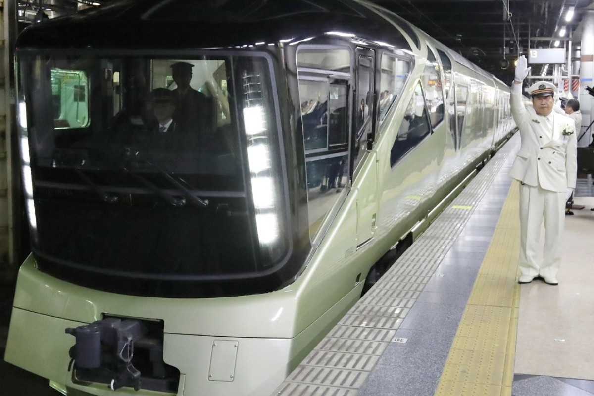The Train Suite Shiki-Shima, operated by East Japan Railway, departing from Ueno Station in Tokyo. Photo: AFP