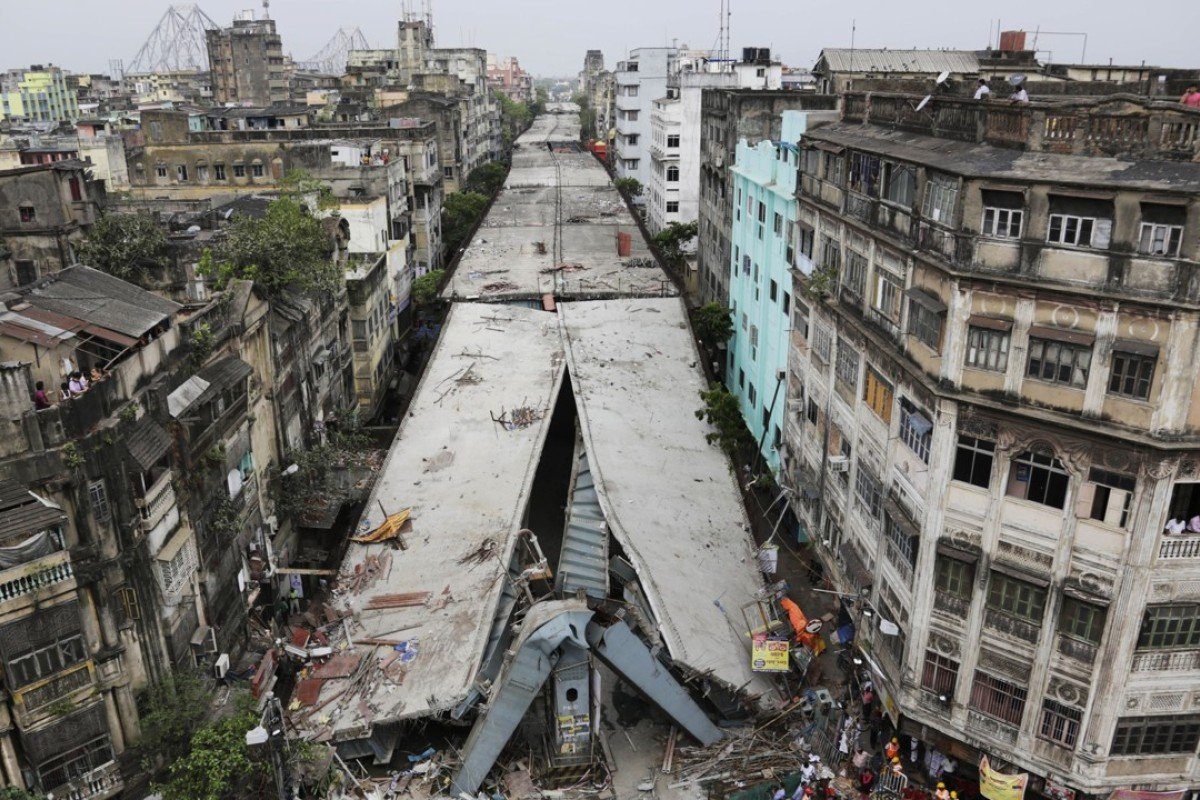 The collapse of the flyover in Kolkata killed more than two dozen people. Photo: AP