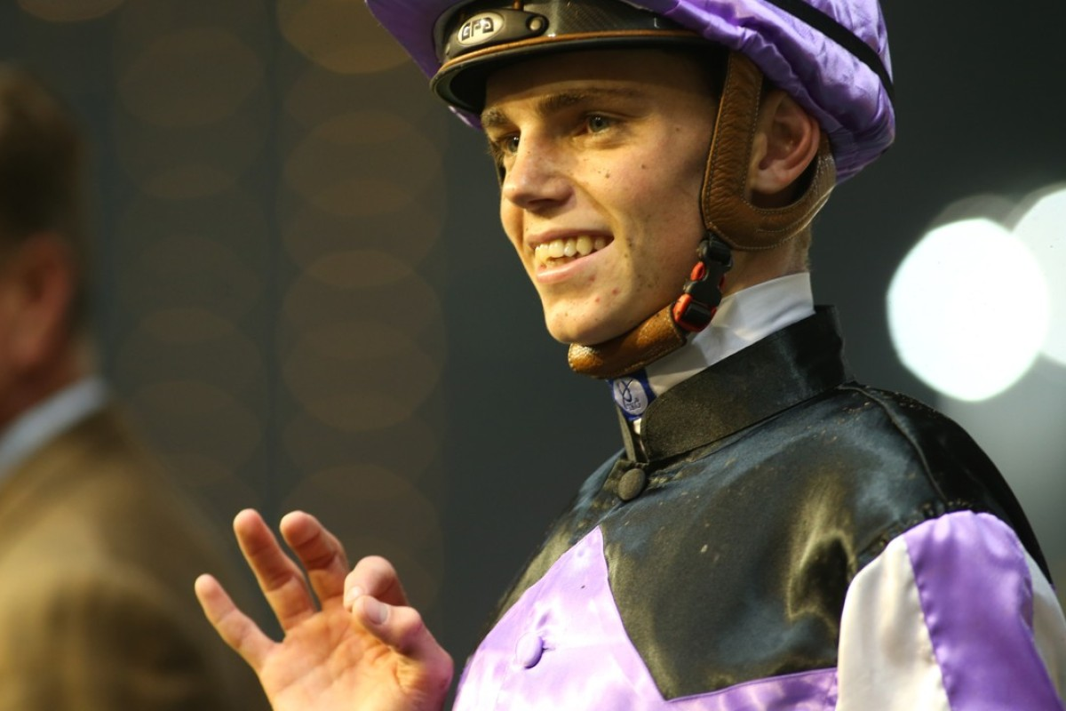 Callan Murray celebrates his first winner in Hong Kong. Photos: Kenneth Chan