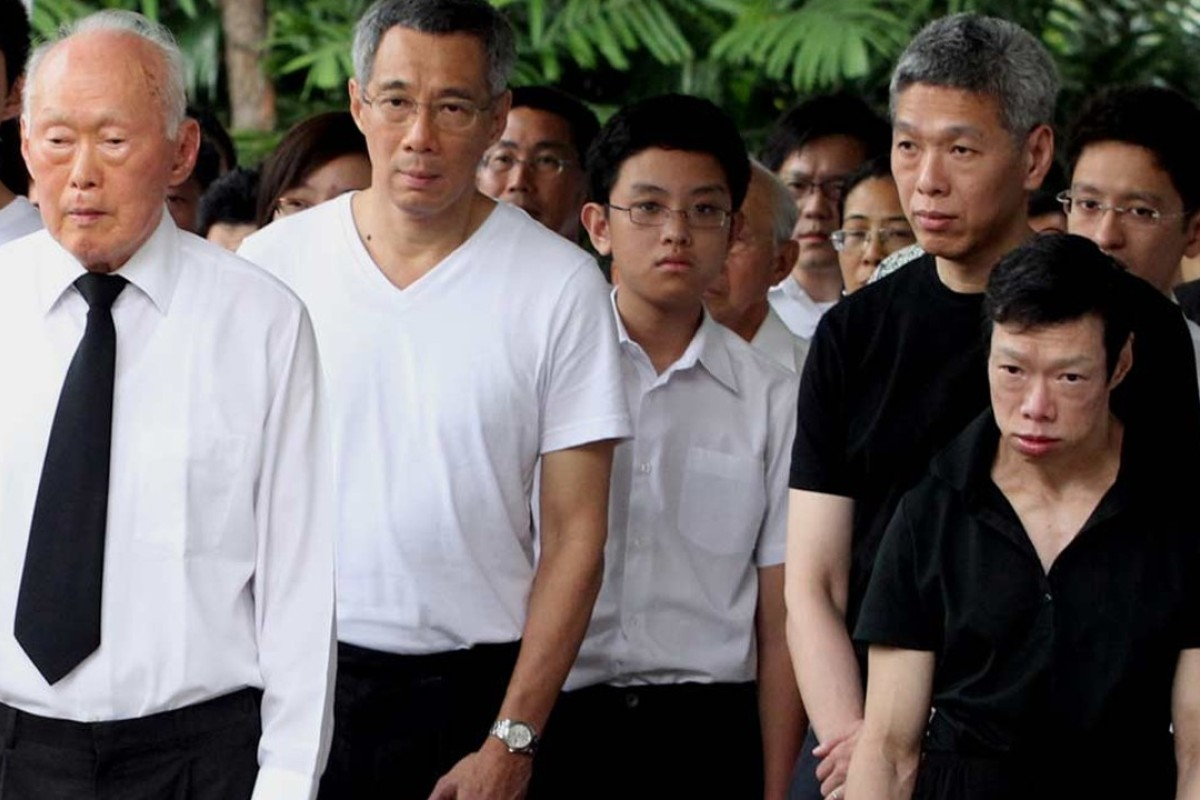 The late Singaporean statesman Lee Kuan Yew, left, his sons Lee Hsien Loong (second left) and Lee Hsien Yang (second right), and daughter Lee Wei Ling (right). Photo: Straits Times