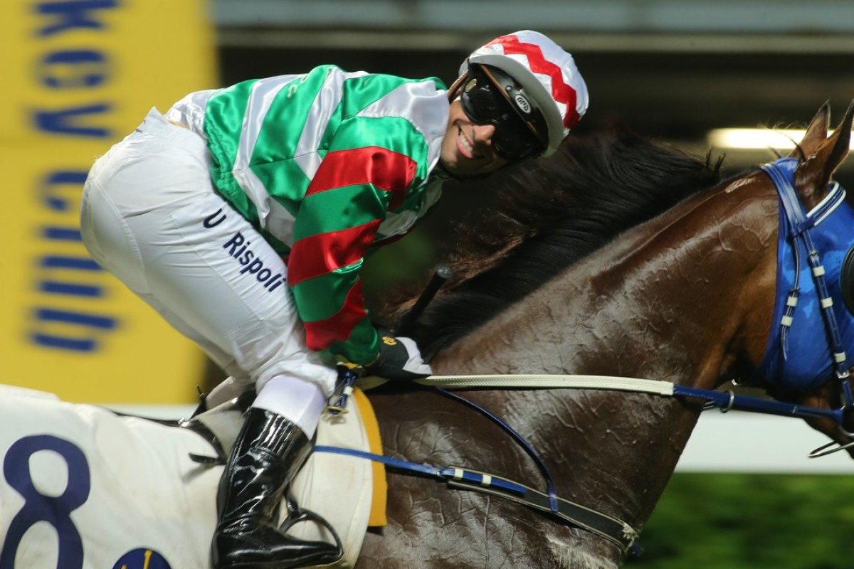 Umberto Rispoli flashes a smile after winning on Jade Theatre at Happy Valley. Photos: Kenneth Chan
