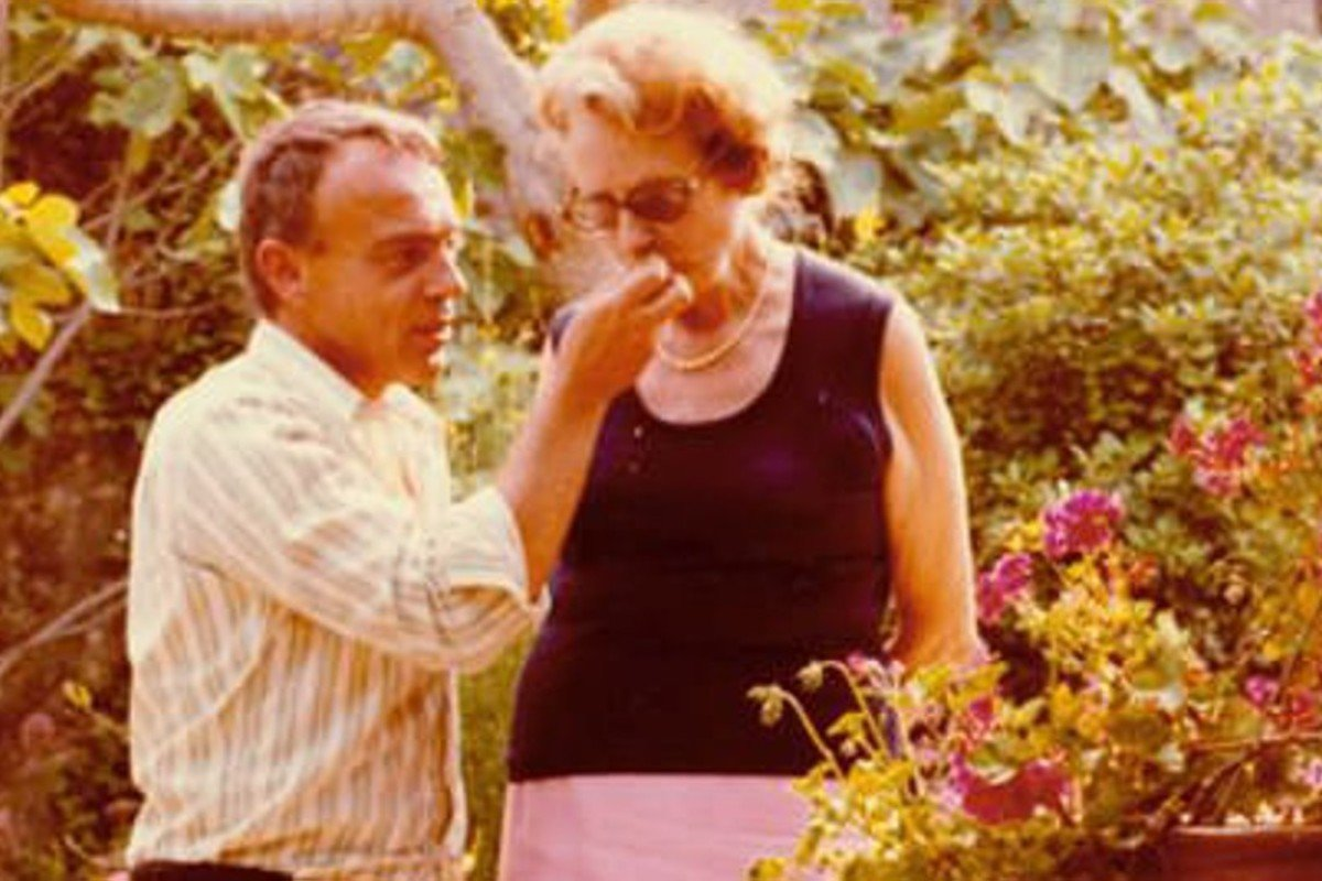 Richard Olney with cookbook author Simone Beck, in his Provencal estate, in the early 1970s.