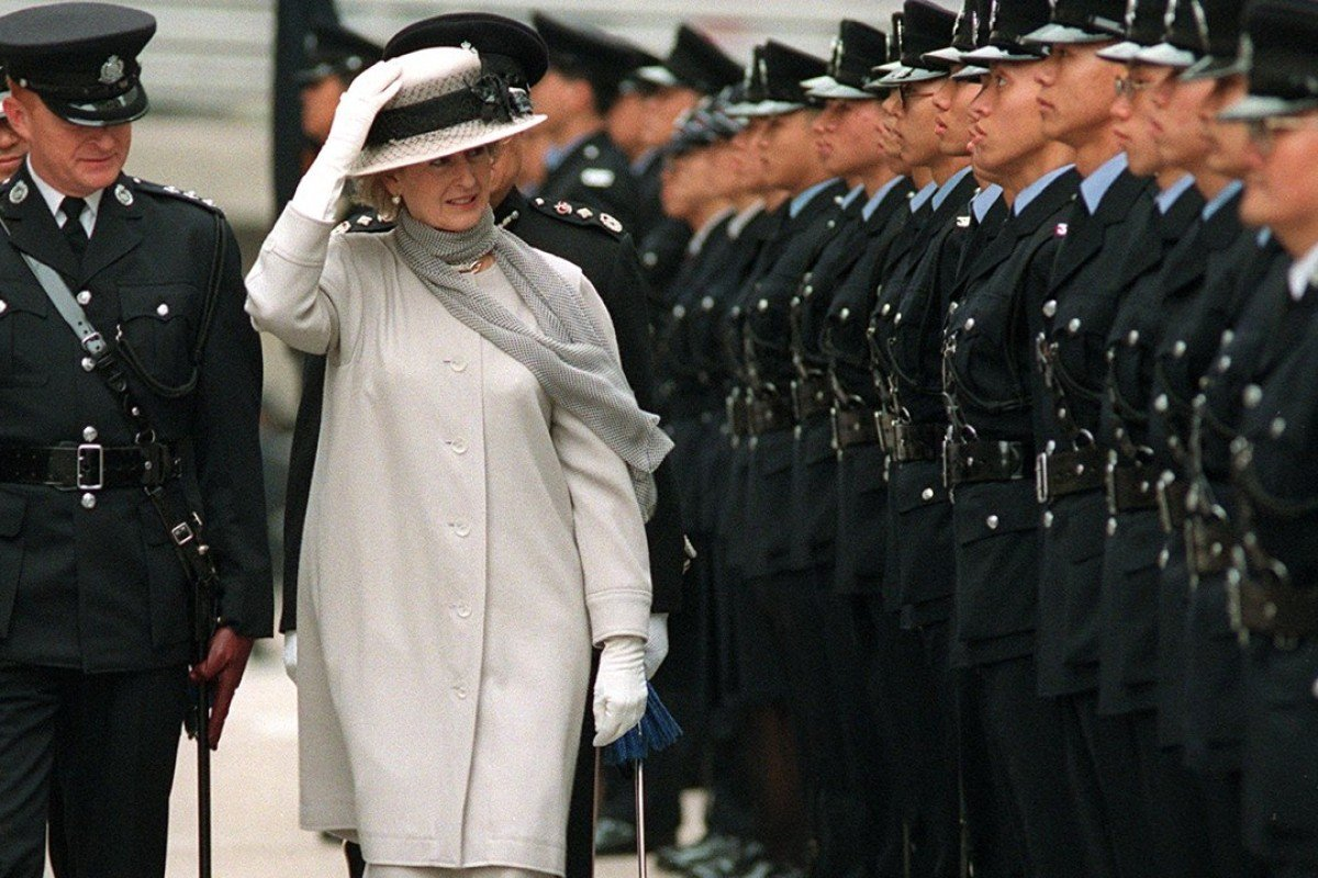 Princess Alexandra reviewed police honour guards at Wan Chai Police Headquarters, 1997