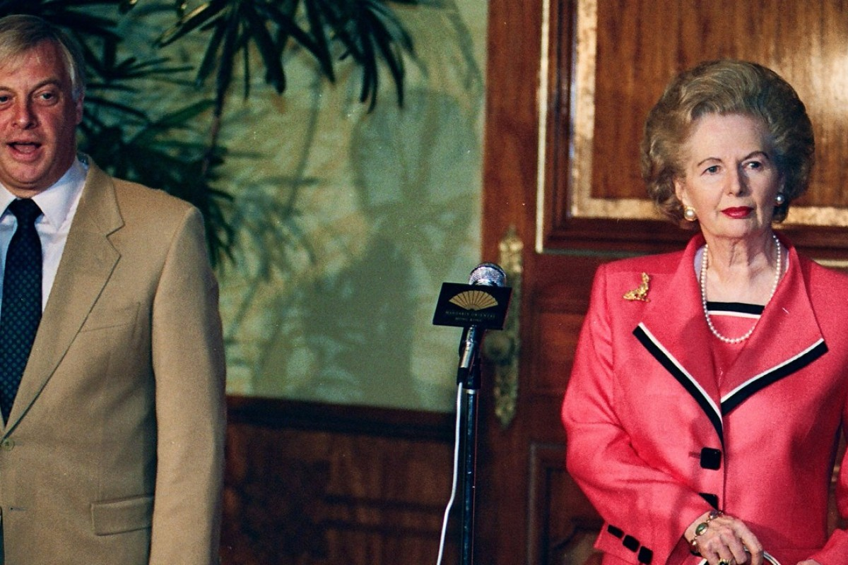 Former governor Chris Patten and Lady Margaret Thatcher at Fanling Lodge