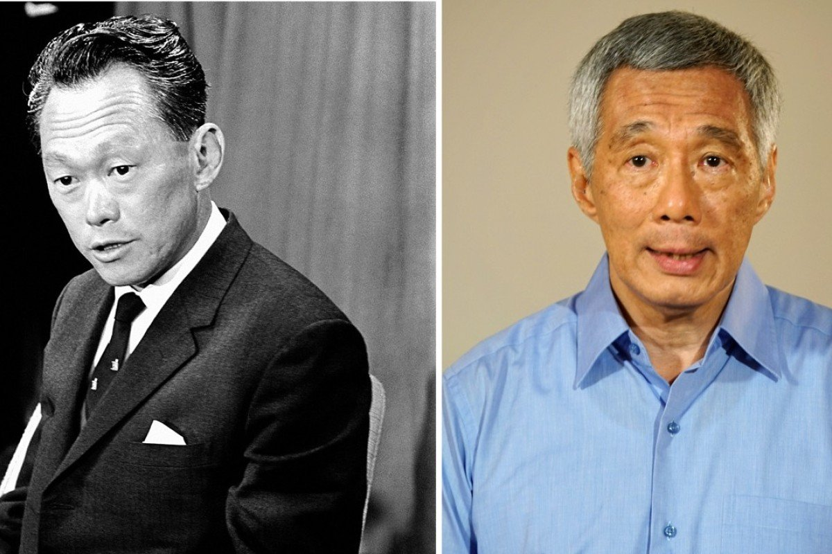 Singapore's founding prime minister, Lee Kuan Yew, and his son, the Lion City's current prime minister Lee Hsien Loong. File Photo