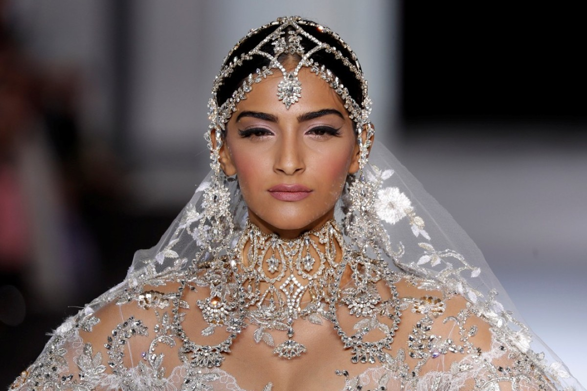 Sonam Kapoor presents a wedding dress by Ralph & Russo as part of their Haute Couture Fall/Winter 2017/2018 collection. Photo: REUTERS