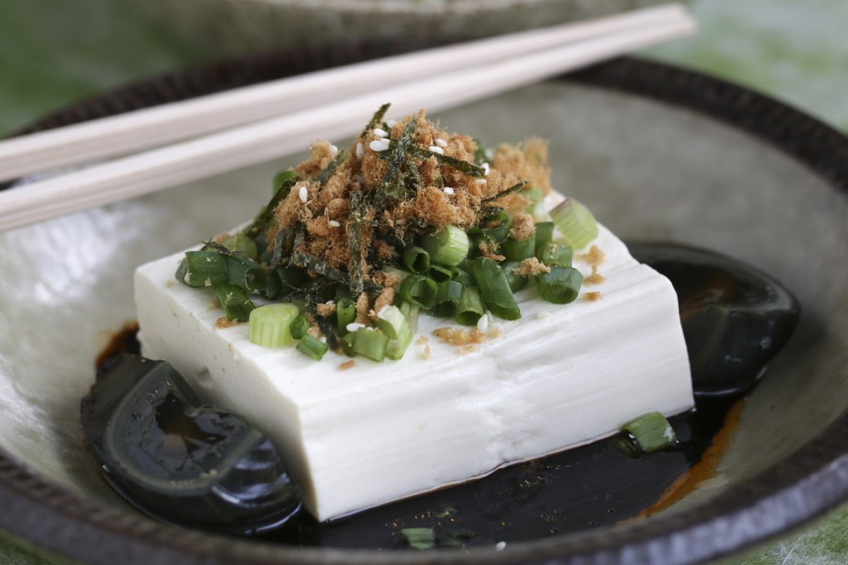 Cold bean curd with century egg, spring onion and pork floss.