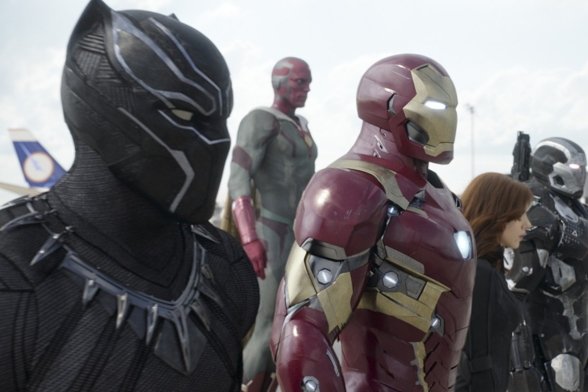 This handout image shows Marvel's Captain America: Civil War..L to R: Black Panther/T'Challa (Chadwick Boseman), Vision (Paul Bettany), Iron Man/Tony Stark (Robert Downey Jr.), Black Widow/Natasha Romanoff (Scarlett Johansson), and War Machine/James Rhodey (Don Cheadle). 04FEB16 [28APRIL2016 FILM REVIEW]