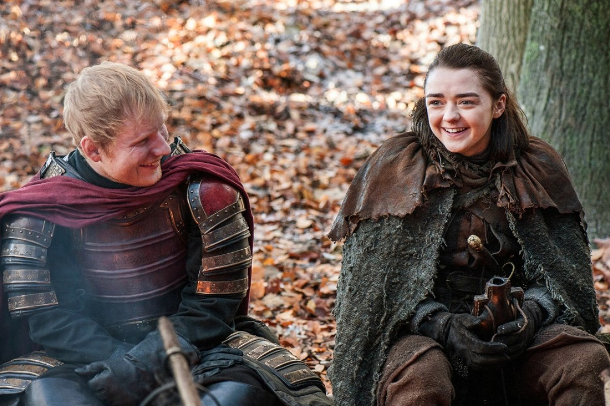 This image released by HBO shows Ed Sheeran, left, and Maisie Williams in a scene from 'Game of Thrones'. Photo: AP