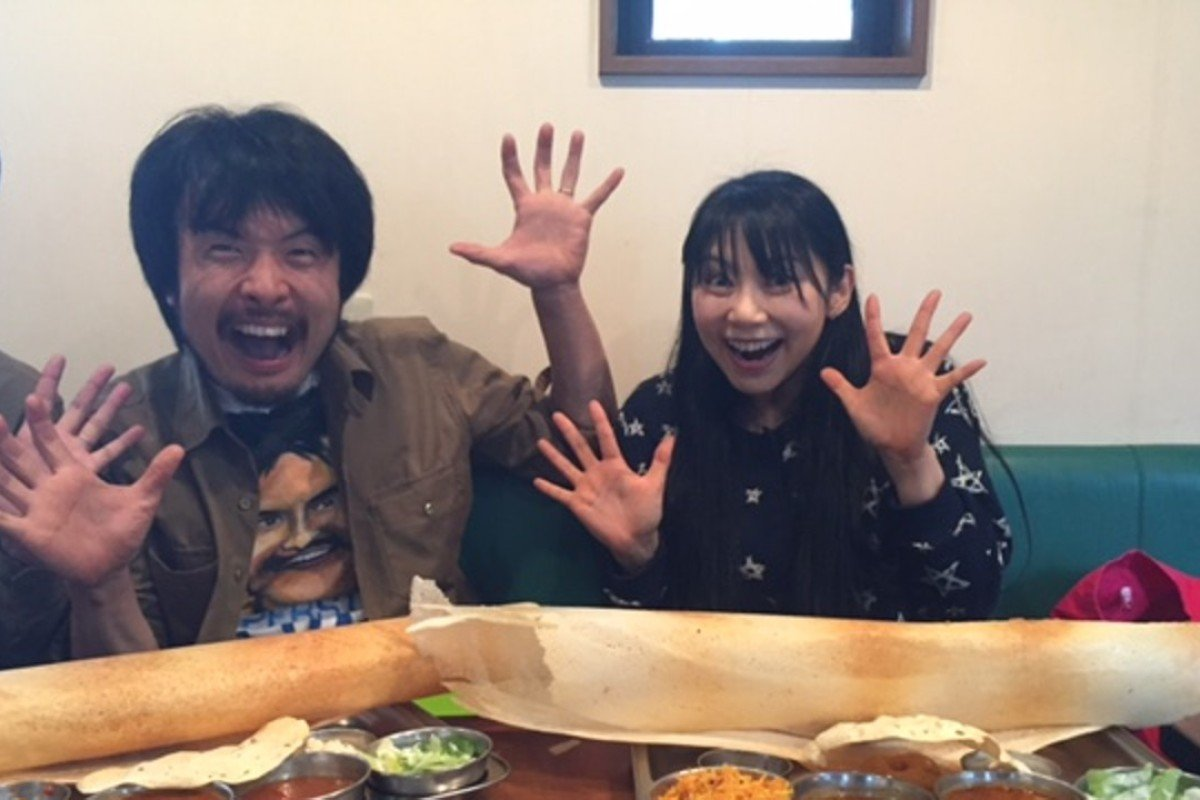 Hiroyoshi Takeda and Mikan are excited about their dosas in a restaurant in eastern Tokyo. Photo: Pallavi Aiyar